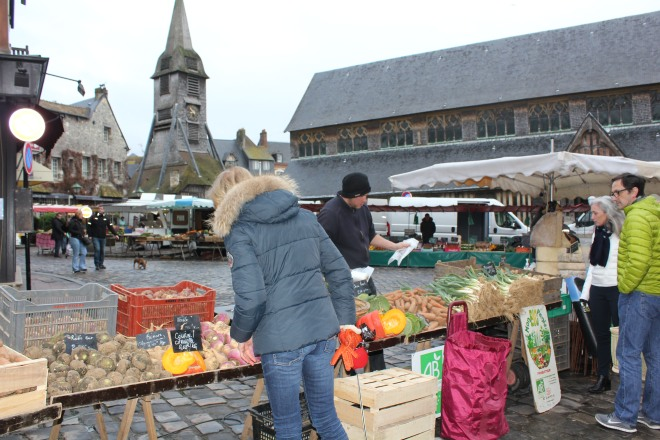 Market day on the streets of Honfleur during our winter break