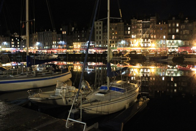 The harbour of Honfleur at night during our winter break