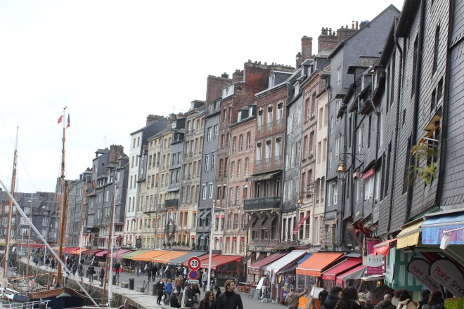 The busy harbour and streets of Honfleur during our winter break