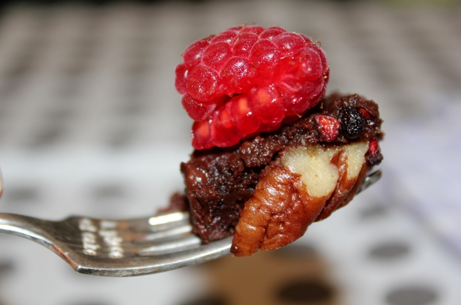My rich antioxidant brownie with pecans and raspberries