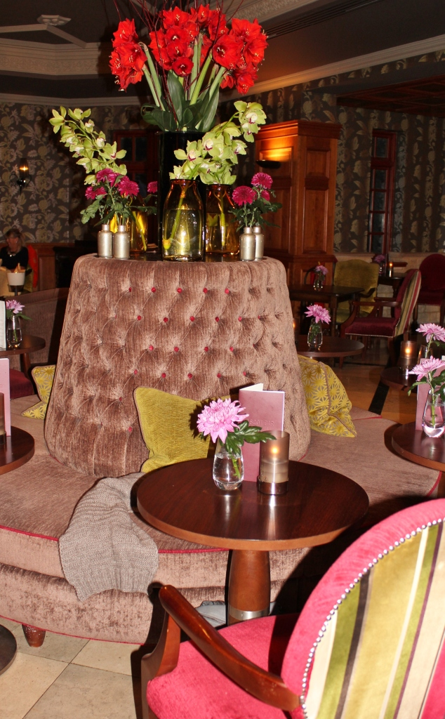 Beautiful seating in The Ascot Bar, Pennyhill Park Hotel