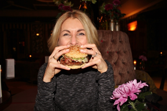 Happy with the burger at The Ascot Bar, Pennyhill Park Hotel