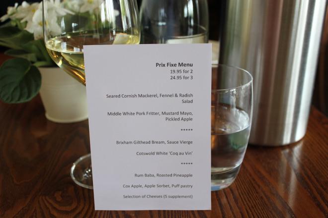The set lunch menu at The Royal Oak, Paley Street