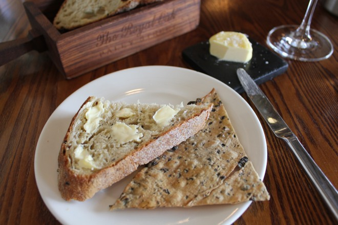 Crusty bread and flat-bread served at The Royal Oak, Paley Street