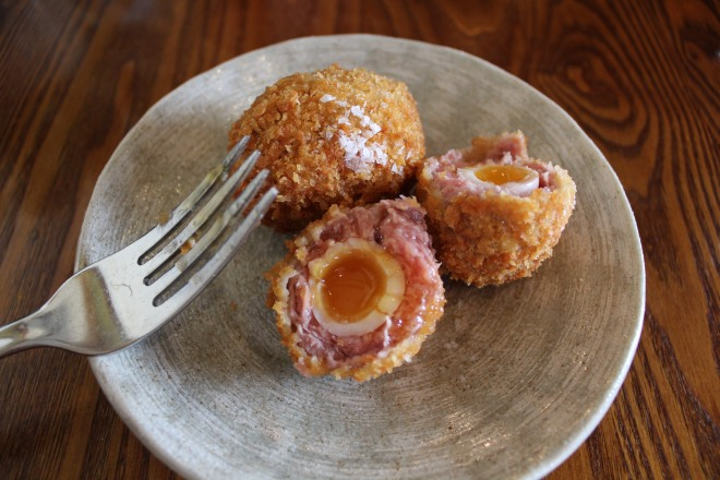Perfectly cooked scotch eggs served at The Royal Oak, Paley Street