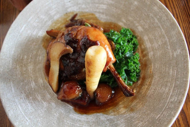 'Coq au vin' served at lunchtime at The Royal Oak, Paley Street