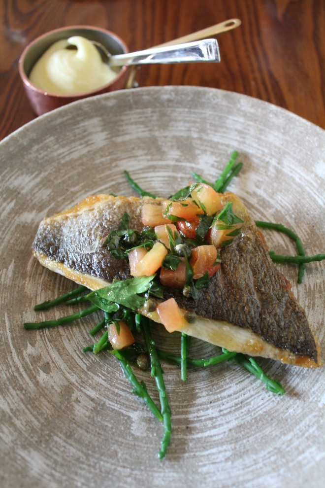 Lunchtime fish dish served at The Royal Oak, Paley Street