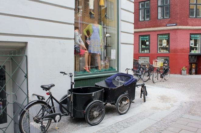 Shopping Along Stroget Copenhagen, Denmark. Cargo Bikes.