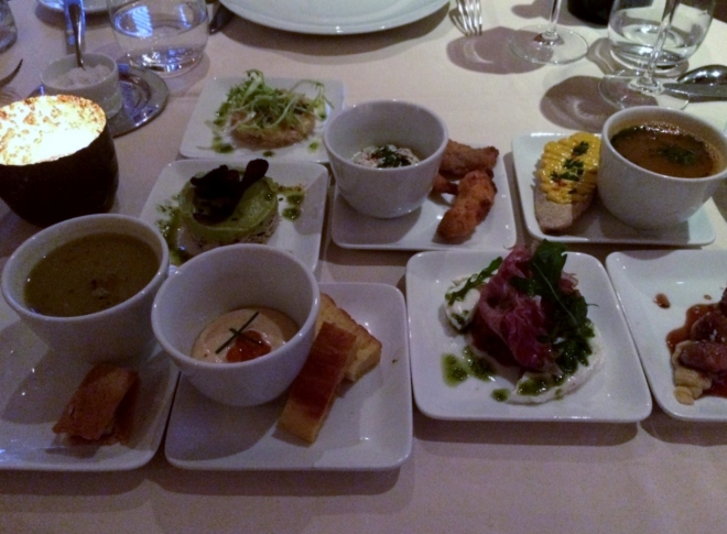 Drouant restaurant starters: 4 treatments of fish and 4 treatments of meat