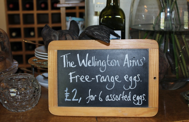 The Wellington Arms in Baughurst has the best pub garden and sells fresh eggs