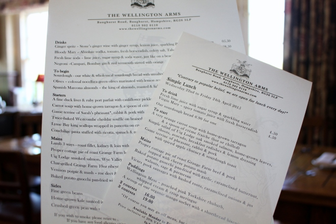The menu of the Wellington Arms in Baughurst