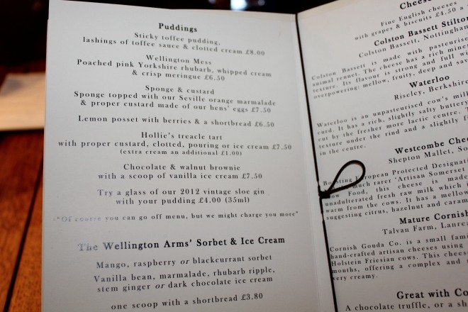 Dessert menu at The Wellington Arms in Baughurst