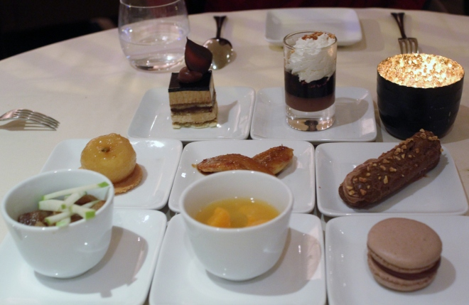 Desserts : 4 treatments of chocolate and 4 treatments of fruit at the Drouant restaurant, Paris