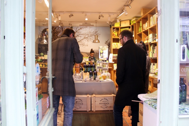 Olive oil shop in unspoiled Ile Saint-Louis, Paris