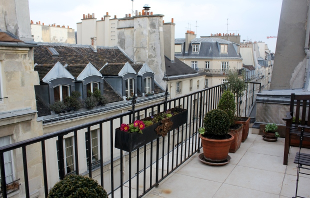 Terrace view from our apartment in the Ile Saint-Louis rooftops, Paris