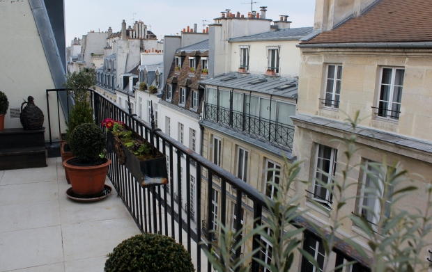 A terrace at our apartment in the Ile Saint-Louis rooftops, Paris