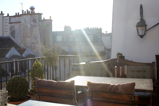 Breakfast terrace at our apartment in the Ile Saint-Louis rooftops, Paris